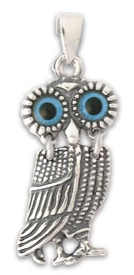 Goddess Athena's Wise Little Owl ~ Silver Pendant - Greek Jewelry