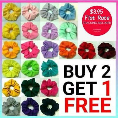 43 colours hair scrunchie pink purple red green yellow blue school colour girl
