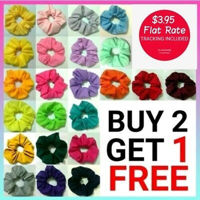 43 colours handmade scrunchie ponytail holder pink purple red green yellow blue