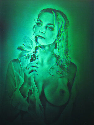 """11x16"""" (28x40cm) Sensual Girl with Lily (Erotic) - True 3d Laser hologram glass"""