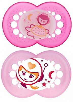 MAM Glow in the Dark Night Orthodontic Pacifier, Girl, 6+ Months, 2Count