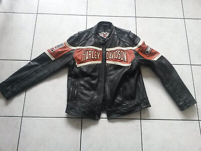 lederjacke mit unterjacke harley davidson biker. Black Bedroom Furniture Sets. Home Design Ideas