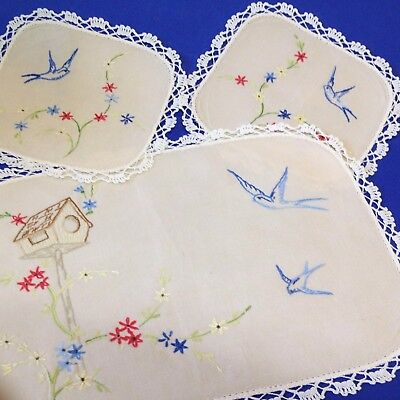 Hand Embroidered 3 Piece Duchess Set Doilies  - Blue Birds of Happiness