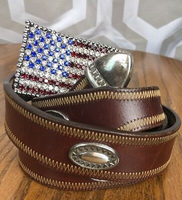 Lucchese Vintage SZ 32 Leather Belt W/Rhinestone American Flag Belt Buckle USA