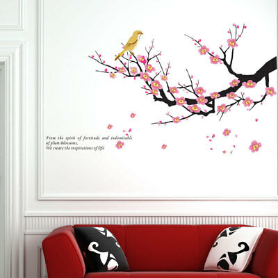 Plum Blossom Flower Bird Removable Wall Decal Sticker Art Mural Home Decor