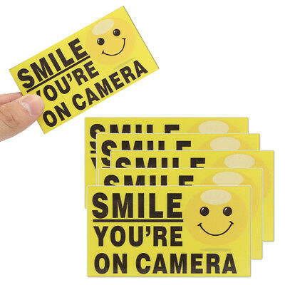 5x Smile You're On Camera 9x5cm Video Alarm Safety Stickers Signs Vinyl Decal