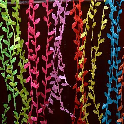 5m Satin Leaf Leaves Vine Fake Plant Garlands Headband Bridal Deco Lace Trimming