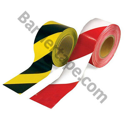 5 Rolls STRONG 70mmx500m HAZARD BARRIER TAPE RED/WHITE-BLACK/YELLOW