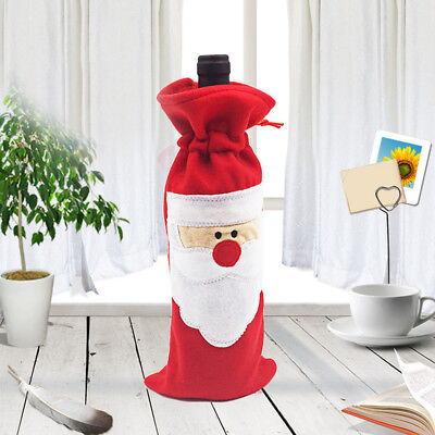 Santa Claus Wine Bottle Cover Red Bag Xmas Party Bottle Christmas Ball Decor New