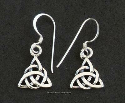 Celtic Infinity Knot Earrings Double Triquetra 925 Sterling Silver Jewellery