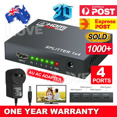 HDMI Splitter Amplifier 1 In 4 Out Duplicator Full HD 1080p 3D V1.4 Foxtel DVD