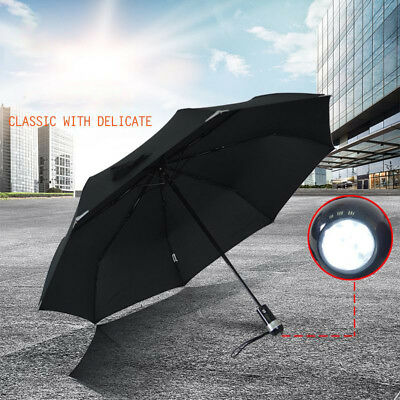 Wind Resistant Strong Auto Open&Close Windproof Umbrella With Flashlight LED AU