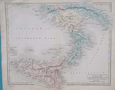 Map Ancient Southern Italy & Sicily. c1880. S Hall. EUROPE. Original