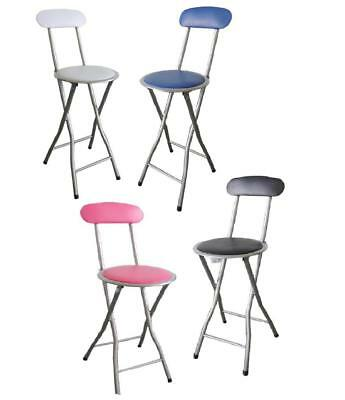 FOLDABLE FOLDING BREAKFAST BAR PUB STOOL KITCHEN OFFICE PADDED HIGH CHAIR 90cm