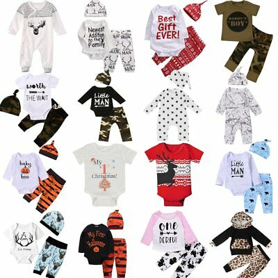 3Pcs Newborn Toddler Infant Baby Boy Girl Clothes T-shirt Romper+Pants Outfits