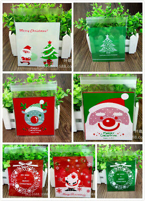 Christmas Xmas Santa Cookie Biscuit Gift Candy Lolly Party Cellophane Bag Pack