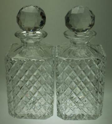 Pair of Crystal Spirit or Whiskey Decanters with Stoppers 875mls Bohemia KC258