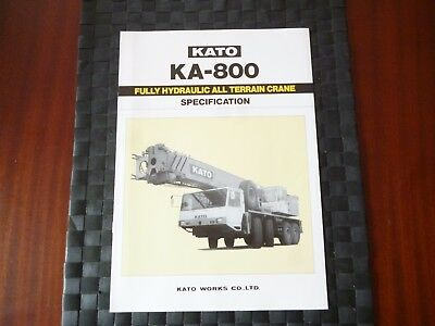 Kato Ka 800 Fully Hydraulic All Terrain Crane Specification Brochure *as Pics*