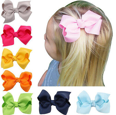 2pcs Grosgrain Ribbon Large Hair Bowknot With Clips For Baby GIRL HAIR CLIPS