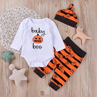 Halloween 3Pcs Newborn Toddler Baby Boy Girl Clothes Romper+Pants Outfits 000-2