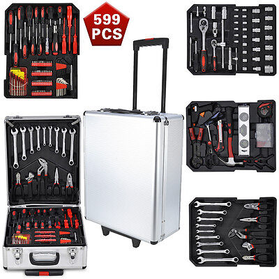 Quality 599pcs Tool Set Case Mechanics Kit Box Organize Castors Toolbox Trolley