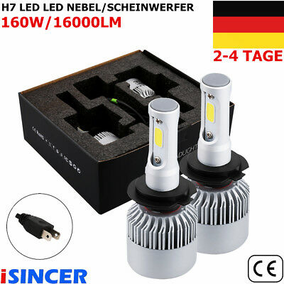 2x H7 LED iSincer Auto-Scheinwerfer-Kit 160W 16000LM 6000K Lampen White COB HS