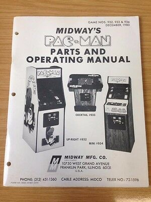 Midway Pac-Man PACMAN Arcade Machine Parts & Operating Manual 1980