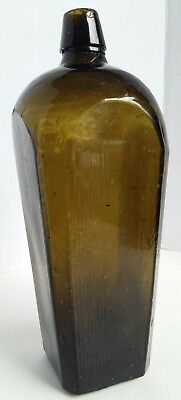 Antique Black Green Glass Gin Bottle Blown Case Bubbles Applied Top Olive Green