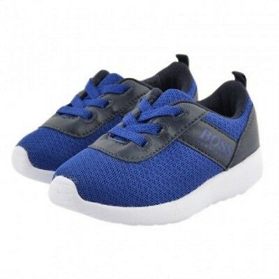 3b83727a2315b6 Brand New Hugo Boss Kids Leather Mesh Trainers Shoes J09094 - Electric Blue