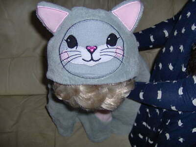GIRLS PRETTY FLEECE CAT PONCHIO GREY/PINK  -ONE SIZE Approx age 4-7 years