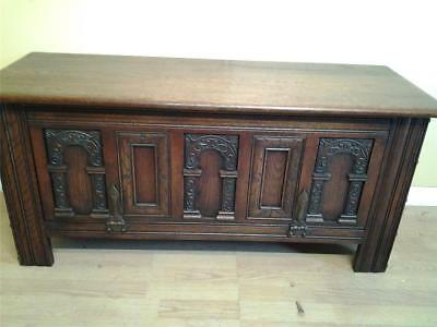 Old Charm Gothic style carved oak coffer chest blanket box