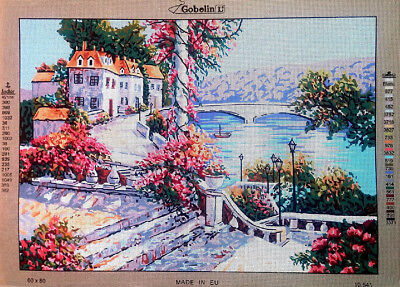Needlepoint tapestry gobelin printed canvas  Italian landscape