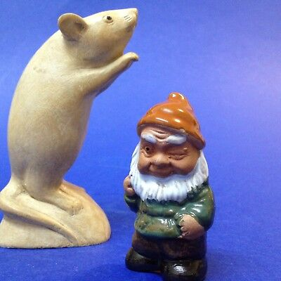 Tiny 7cm Tall - Glazed Terracotta Gnome Ornament - For Collector or Terrarium