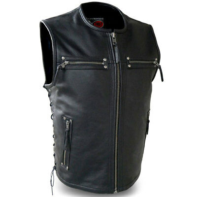 First Mfg Mens Brawler Side Lace Leather Motorcycle Vest S-5XL Free Shipping