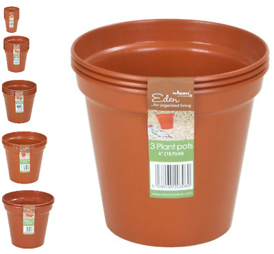 3 to 10.5 Inch Whatmore Terracotta Colour Plastic Plant Pots Small To Large Pick