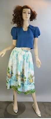 Rockabilly circle skirt 50's cotton hand painted Sailing Scene knee Length
