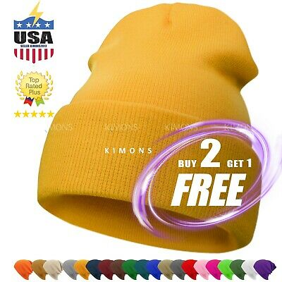 9052828e31f Beanie Plain Knit Hat Winter Warm Cuff Cap Slouchy Skull Ski Warm Men Woman