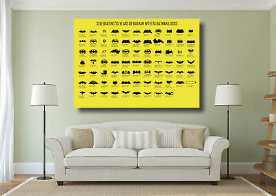 Evolution of The Batman Logo Giant Wall Art Poster Print - Various Sizes