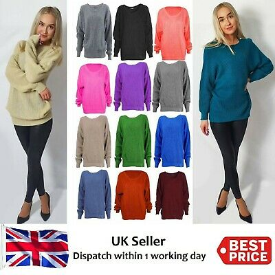 NEW Womens Ladies Chunky Thick Baggy Jumper Knitted Sweater Oversize Plus Size
