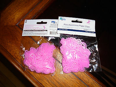 72 pcs.pink breast cancer awareness ribbon shaped paper clips new in package