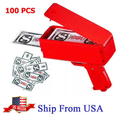 Red SS17 Logo Box Cash Cannon Money Gun Recreation Party Toys Gift US Stock
