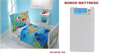 Toddler Bed with BONUS Mattress & Bedding Cartoon Character and Pillow Case