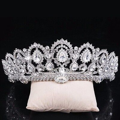 Crystal Crown Silver Quinceanera Tiaras Bridal Jewelry Pageant Wedding Headwear
