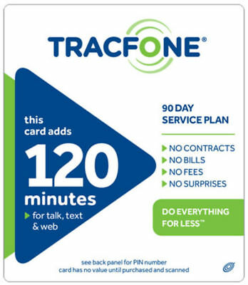 Tracfone 120 Minutes 90Day Plan Service Card