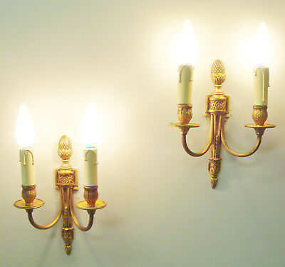Gorgeous Pair Vintage Bronze Sconces Wall Lights French Empire Style Appliques