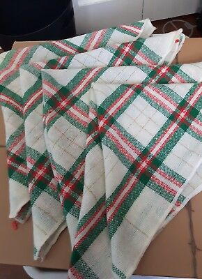 NWOT Set of 4 plaid square Christmas cloth napkins red green gold 16 x 16""