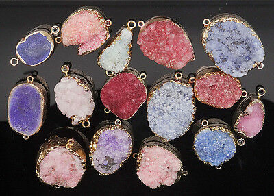 Random Dyeing druzy Crystal geode agate cluster connector pendant bead wholesale