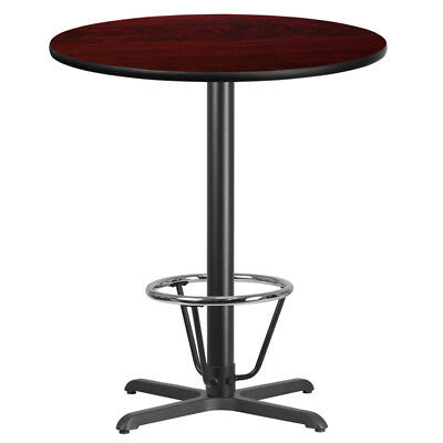 "36"" Restaurant Bar Height Table with Mahogany Laminate Top and Foot Ring"