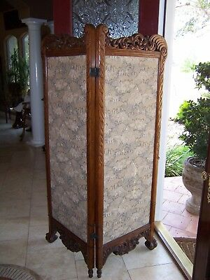 Quarter Sawn Oak Pierced Carved Screen Divider