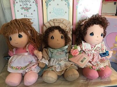 "Precious Moments Friendship Dolls.1993 Edition 10 1/2"" Collectible NIB Lot Of 3"